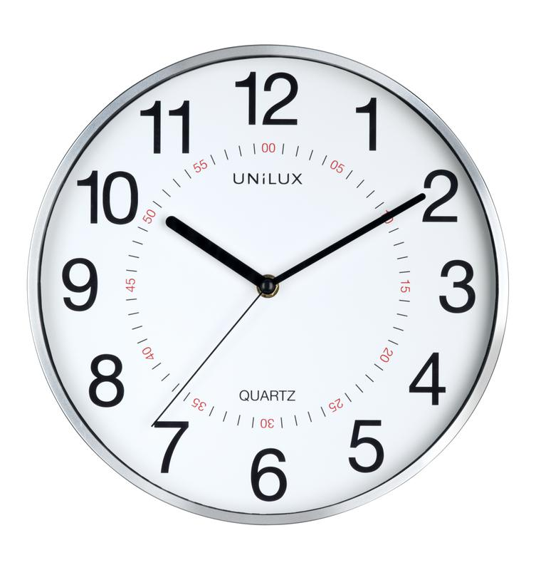 Unilux Clock Aria 280mm Diameter Metal Grey Rim 400094280