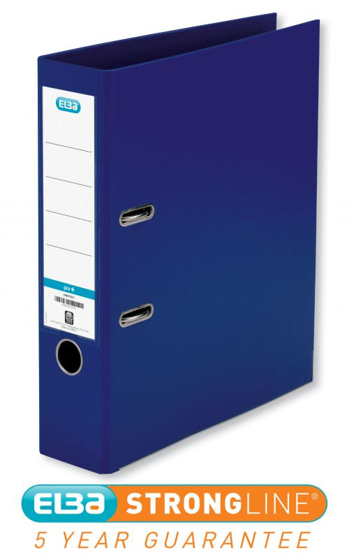 Elba Lever Arch File Polypropylene 70mm Spine A4 Blue Ref 100025926 [Pack 10]