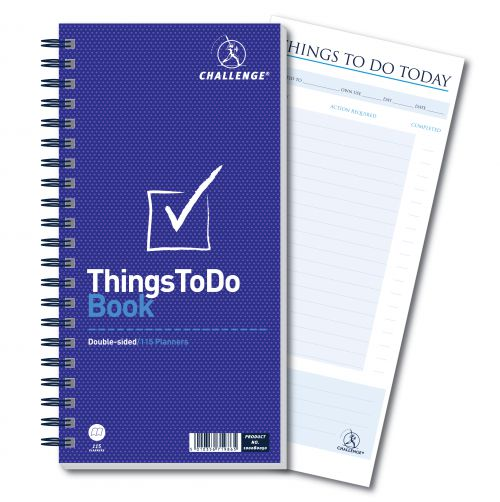 Challenge Planning Book Things to do Today Wirebound Perforated 115pp 280x141mm Ref 100080050