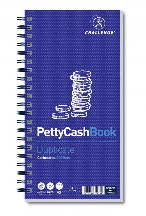 Challenge Petty Cash Book Carbonless Wirebound 200 Sets in Duplicate 280x141mm Ref 100080052