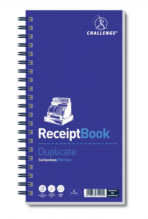 Challenge Duplicate Receipt Book 200 Sets 280x141mm 100080056
