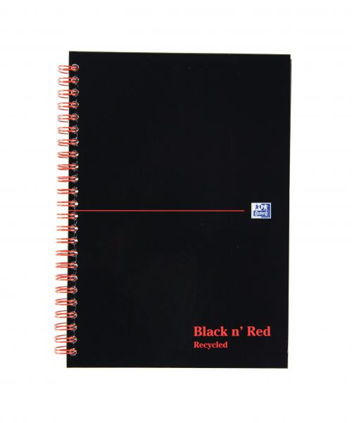 Black n Red Wirebound Recycled Book 90gsm 192 Page A5 Pack 5
