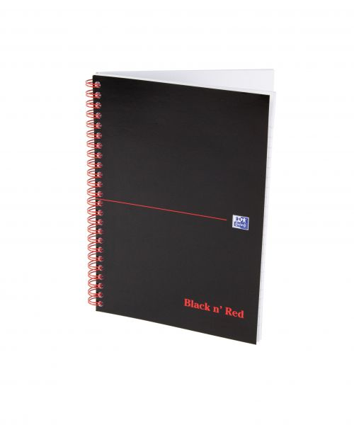 Black n Red Notebook Card Cover Wirebound 90gsm Ruled and Perforated 100pp A5 Ref 100080155 [Pack 10]