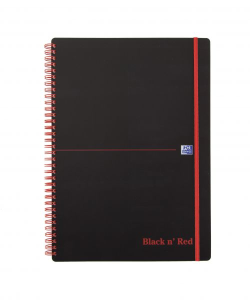 Black n Red Notebook Wirebound PP 90gsm Ruled and Perforated 140pp A4 Ref 100080166 [Pack 5]