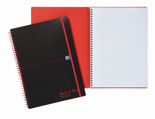 Black n Red Notebook Wirebound PP 90gsm Ruled Recycled and Perforated 140pp A4 Ref 100080167 [Pack 5]