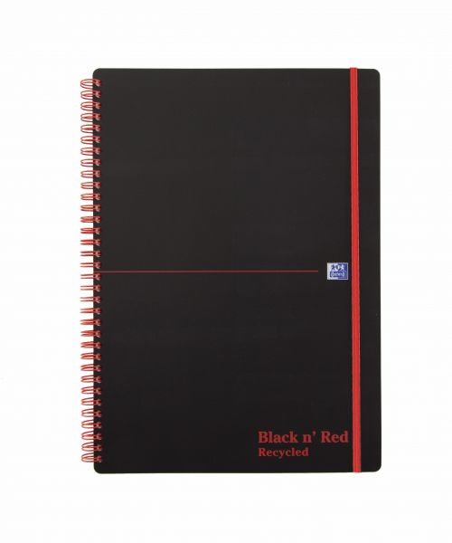 Black n Red A4 Wirebound Polypropylene Cover Notebook Recycled Ruled 140 Pages Black/Red (Pack 5)