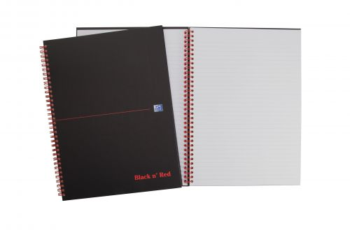 Black n Red Notebook Wirebound 90gsm Ruled and Perforated 140pp A4 Matt Black Ref 100080173 [Pack 5]