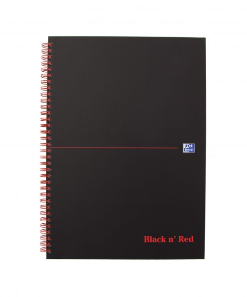Black n Red A4 Matt Black Wirebound Hardback Notebook PK5