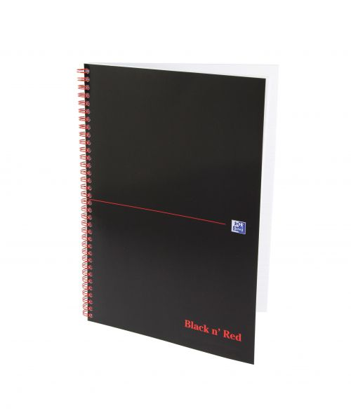 Black n Red Notebook Card Cover Wirebound 90gsm Ruled and Perforated 100pp A4 Ref 100080174 [Pack 10]