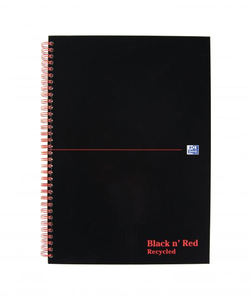 Black n Red Notebook Wirebound 90gsm Ruled Recycl Perforated 140pp A4 Glossy Black Ref 100080189 [Pack 5]