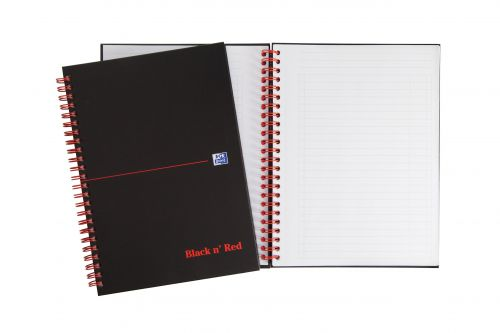 Black n Red Notebook Wirebound 90gsm Ruled Margin Perforated 140pp A5+ Matt Black Ref 100080192 [Pack 5]