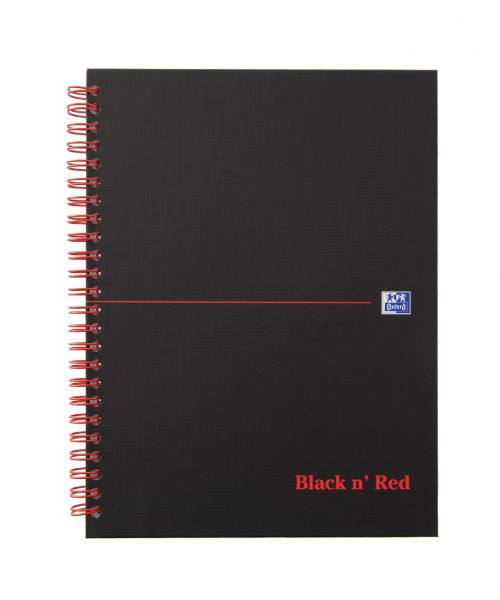 Black n Red Casebound Hardback Notebook A5 Matt Black PK5
