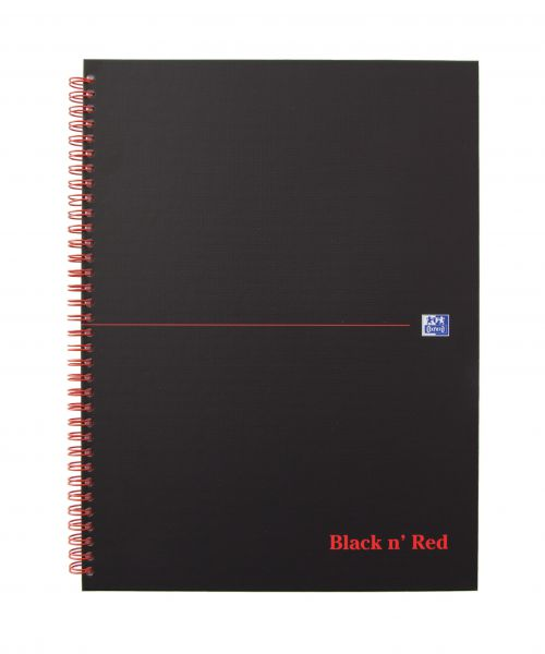 Black n Red Notebook Wirebound 90gsm Ruled Margin Perforated 140pp A4+ Matt Black Ref 100080218 [Pack 5]