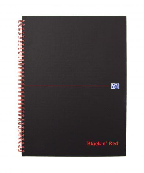 Black n Red Wirebound Hardback Notebook A4 140 page Matt Black PK5