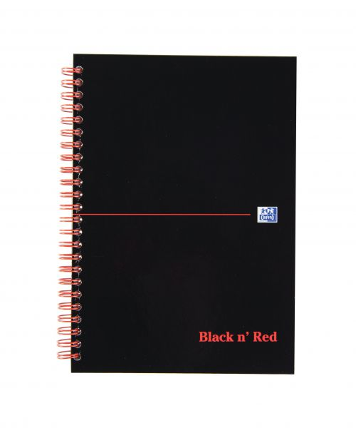 Black n Red A5 Wirebound Hardback Notebook PK5