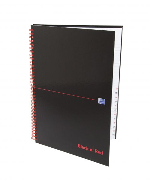 Black n Red Notebook Wirebound 90gsm Ruled Indexed A-Z 140pp A4 Ref 100080232 [Pack 5]