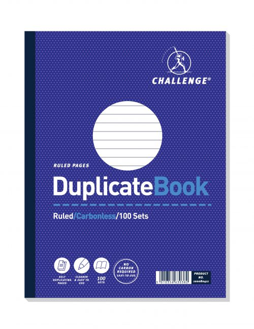 Challenge Duplicate Book Carbonless Ruled 100 Sets 248x187mm Ref 100080411 [Pack 3]