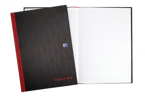 Black n Red Notebook Casebound 90gsm Smart Ruled 96pp A4 Ref 100080428