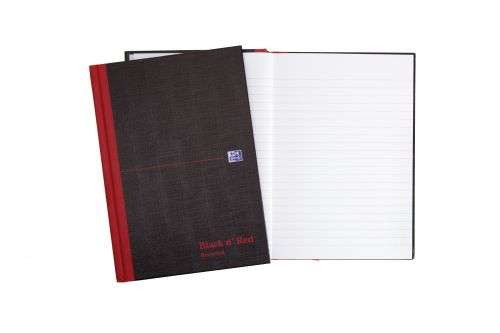 Black n Red Notebook Casebound 90gsm Ruled Recycled 192pp A5 Ref 100080430 [Pack 5]