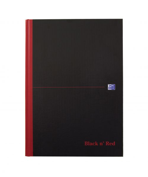 Black n Red A4 Casebound Hard Cover Notebook A-Z Ruled 192 Pages Black/Red (Pack 5)