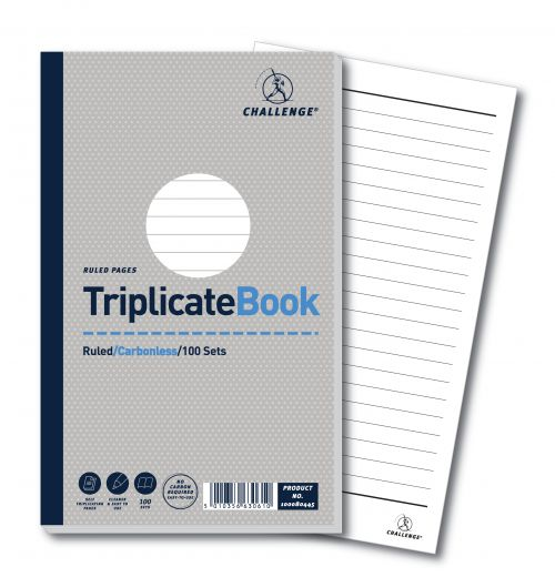 Challenge Triplicate Book Carbonless Ruled 100 Sets 210x130mm Ref 100080445 [Pack 5]