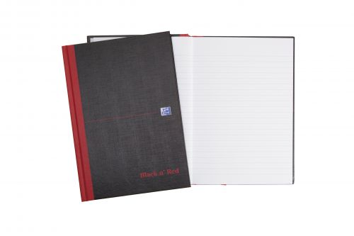 Black n Red Notebook Casebound 90gsm Ruled 192pp A5 Ref 100080459 [Pack 5]