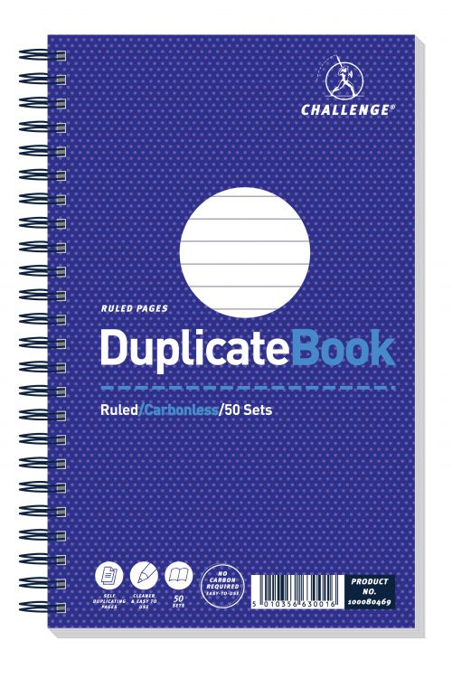 Challenge Duplicate Book Carbonless Wirebound Ruled 50 Sets 210x130mm Ref 100080469 [Pack 5]