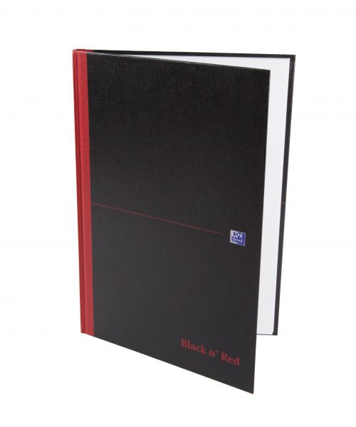 Black n Red Notebook Casebound 90gsm Plain 192pg A4 Ref 100080489 [Pack 5]