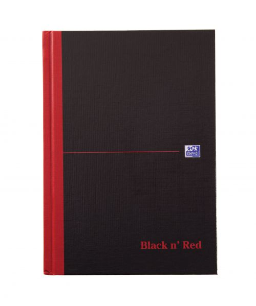Black n Red Notebook Casebound 90gsm Ruled Indexed A-Z 192pp A5 Ref 100080491 [Pack 5]