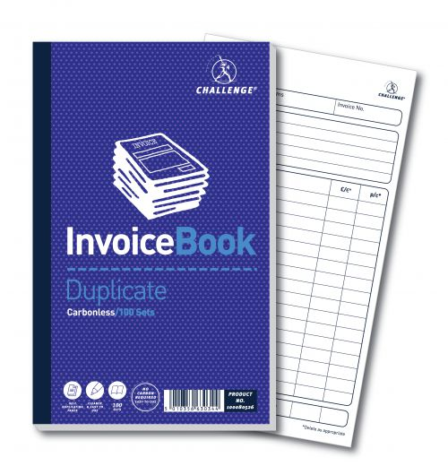 Challenge Duplicate Book Carbonless Invoice without VAT/tax 100 Sets 210x130mm Ref 100080526 [Pack 5]