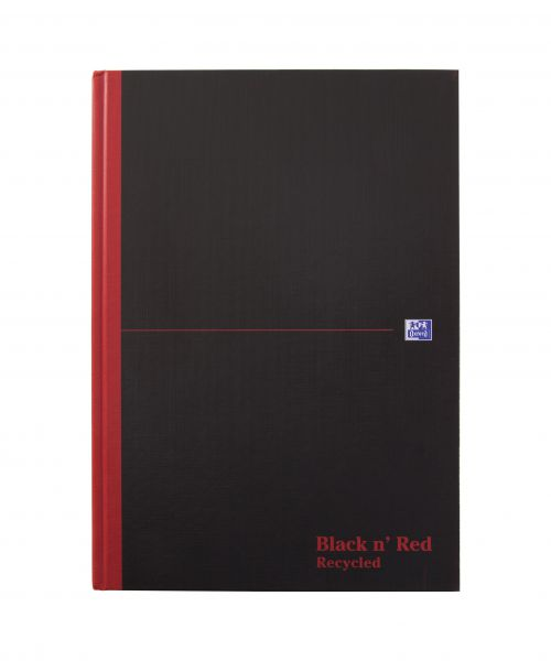 Black n Red A4 Casebound Hardback Recycled Notebook PK5