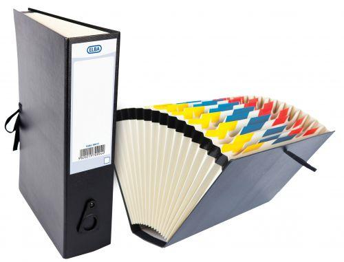 Elba Expanding File 16 Pockets Cloth Tie Fastening Foolscap Black Ref 100080766