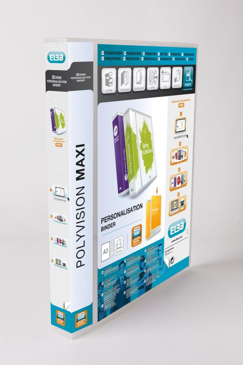 Elba Polyvision Maxi Presentation Binder Clear Polypropylene 4D-Ring 30mm PortraitA3 Ref100080802[Pack 5]