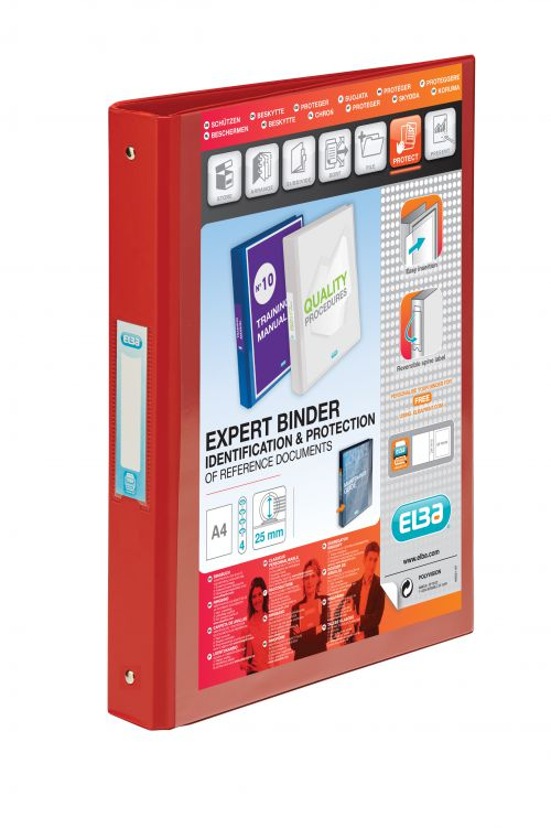 Elba Vision Ring Binder PVC Clear Front Pocket 2 O-Ring Size 25mm A4 Red Ref 100080890 [Pack 10]