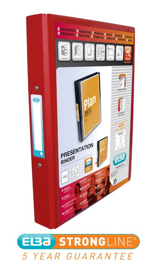 Elba Vision 2 Ring Binder Plastic Coated Board A4 Red 100080890