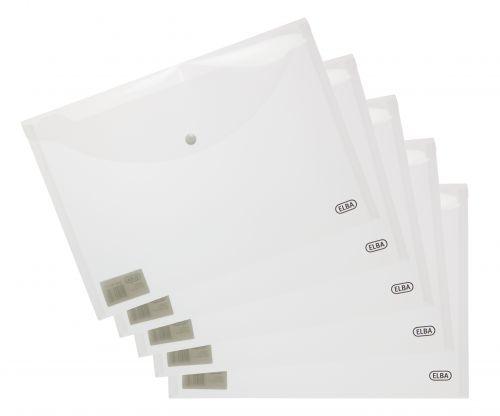 Elba Snap Wallet Polypropylene Integrated Stud Fastening A4 Translucent Clear Ref 100080924 [Pack 5]