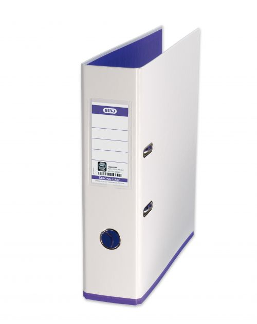 Elba MyColour Lever Arch File Polypropylene Capacity 80mm A4+ White and Purple Ref 100081030