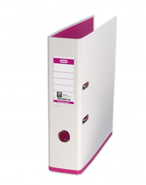 Elba MyColour Lever Arch File Polypropylene Capacity 80mm A4+ White and Pink Ref 100081031