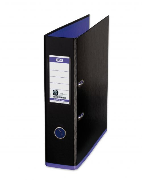 Oxford MyColour Lever Arch File Polypropylene Capacity 80mm A4+ Black & Purple Ref 100081034