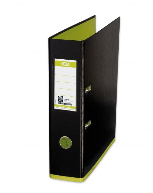 Elba MyColour Lever Arch File Polypropylene Capacity 80mm A4+ Black and Lime Ref 100081036