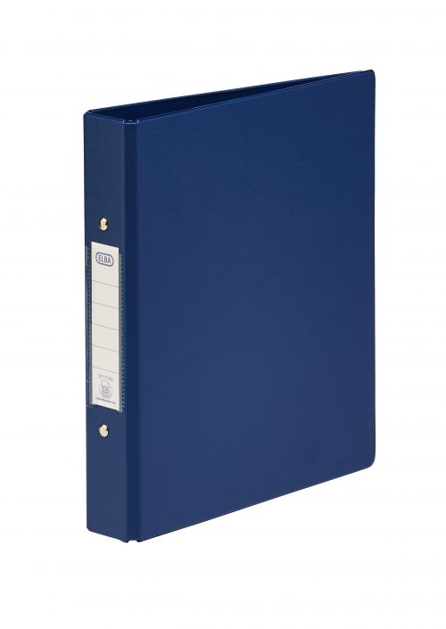 Elba Ring Binder PVC 2 O-Ring Size 25mm A5 Blue Ref 100082443 [Pack 10]