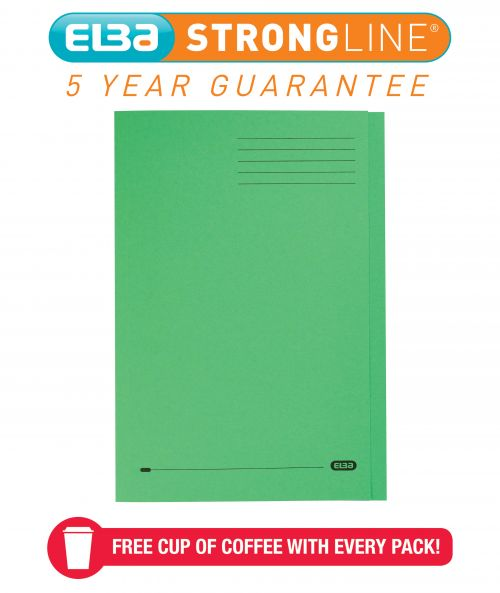 Elba StrongLine Square Cut Folder 320gsm 32mm Foolscap Green Ref 100090022 [Pack 50] [REDEMPTION]