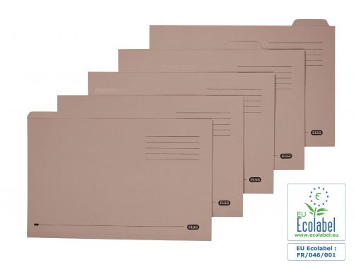 Elba Tabbed Folders Recycled Lightweight 170gsm Manilla Set of 5 Foolscap Buff Ref 100090124 [Pack 20]