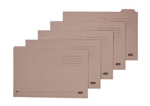 Elba Tabbed Folders Recycled Lightweight 170gsm Manilla Set of 5 Foolscap Buff Ref 100090124 [Pack 20]