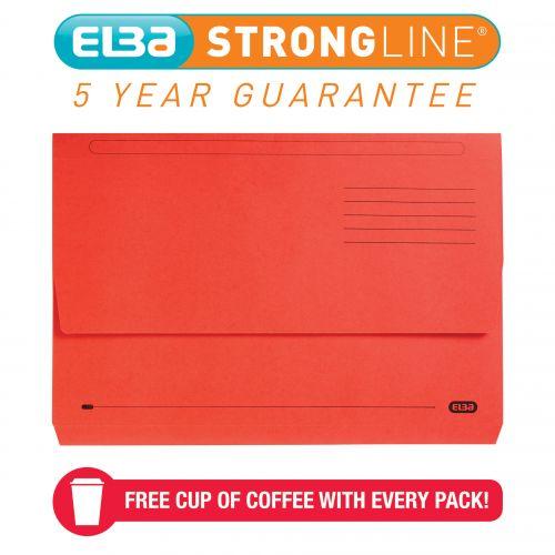 Elba StrongLine Manilla Document Wallet 320gsm 32mm Foolscap Red Ref 100090136 [Pack 25] [REDEMPTION]