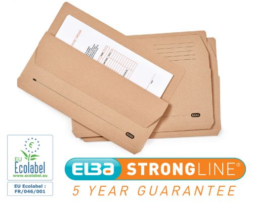 Elba Open Top Wallet Large Gussetted Capacity 28mm Foolscap Buff Ref 100090137 [Pack 50]