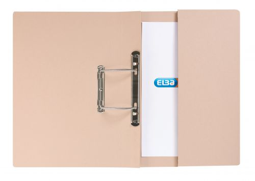 Elba Strongline Transfer Spring File Recycled Pocket 320gsm 36mm Foolscap Buff Ref 100090145 [Pack 25]