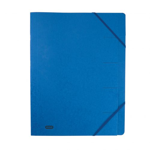Elba Boston Part File 320gsm Manilla Elasticated 5-Part Foolscap Blue Ref 100090166 [Pack 5]