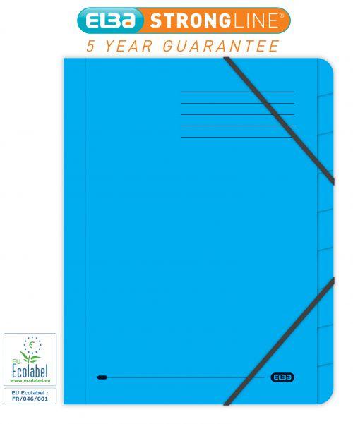 Elba Boston Part File 320gsm Manilla Elasticated 9-Part Foolscap Blue Ref 100090172 [Pack 5]