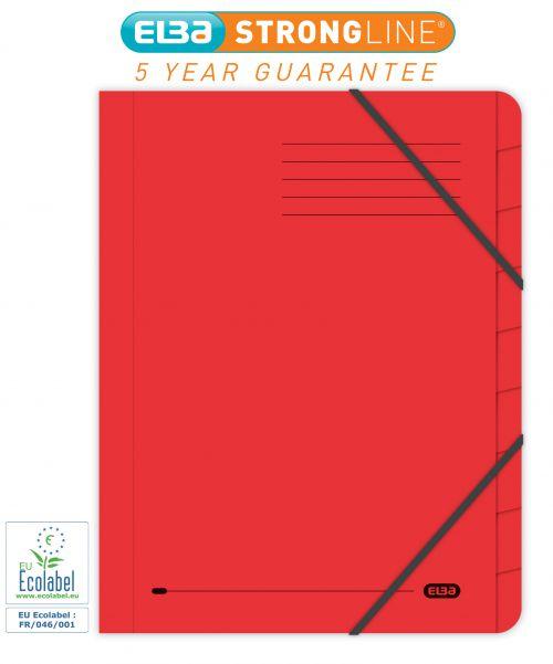 Elba Boston Part File 320gsm Manilla Elasticated 9-Part Foolscap Red Ref 100090174 [Pack 5]
